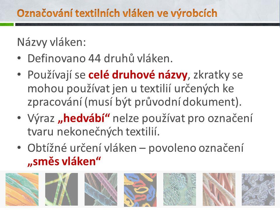 Názvy vláken: Definovano 44 druhů vláken. Používají se celé druhové názvy, zkratky se mohou používat jen u textilií určených ke zpracování (musí být p