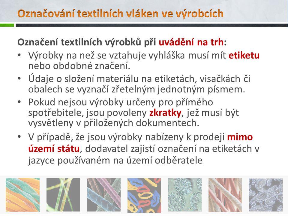 Označení textilních výrobků při uvádění na trh: Výrobky na než se vztahuje vyhláška musí mít etiketu nebo obdobné značení. Údaje o složení materiálu n
