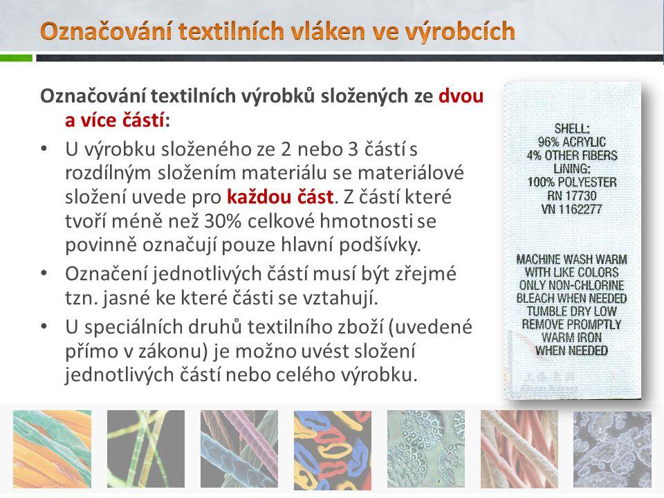 Označování textilních výrobků složených ze dvou a více částí: U výrobku složeného ze 2 nebo 3 částí s rozdílným složením materiálu se materiálové slož