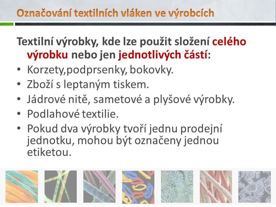 Textilní výrobky, kde lze použit složení celého výrobku nebo jen jednotlivých částí: Korzety,podprsenky, bokovky. Zboží s leptaným tiskem. Jádrové nit