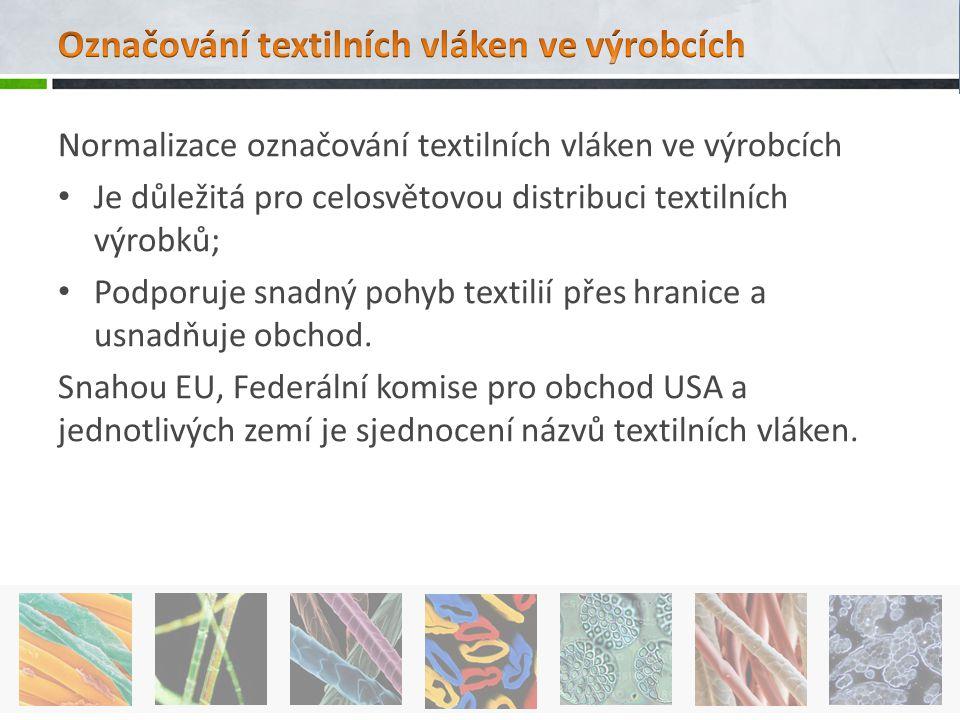 Normalizace označování textilních vláken ve výrobcích Je důležitá pro celosvětovou distribuci textilních výrobků; Podporuje snadný pohyb textilií přes