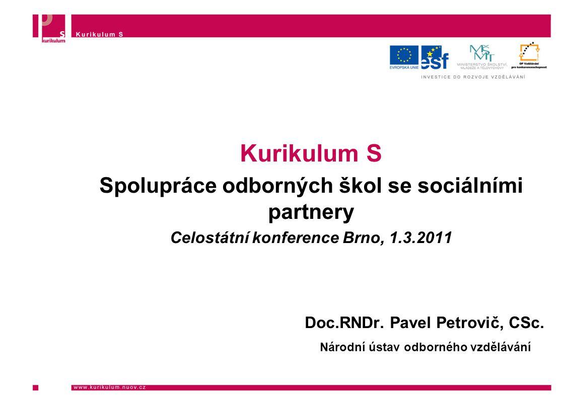 Kurikulum S Spolupráce odborných škol se sociálními partnery Celostátní konference Brno, 1.3.2011 Doc.RNDr.