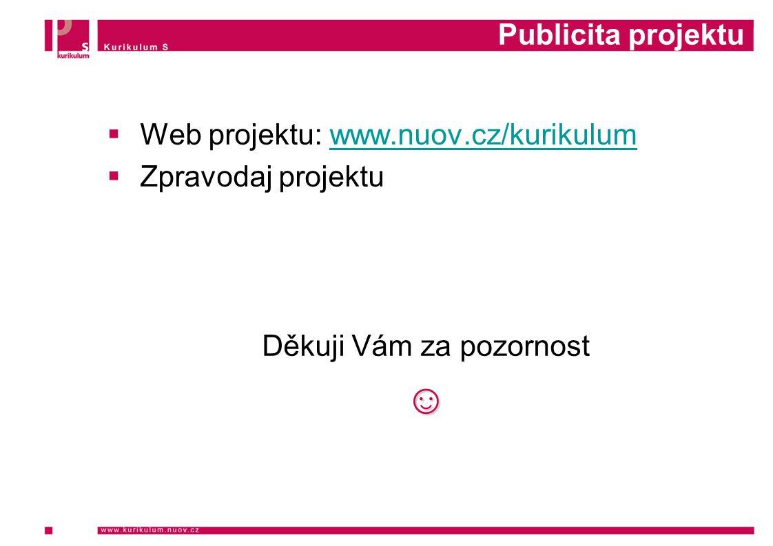 Publicita projektu  Web projektu: www.nuov.cz/kurikulumwww.nuov.cz/kurikulum  Zpravodaj projektu Děkuji Vám za pozornost☺