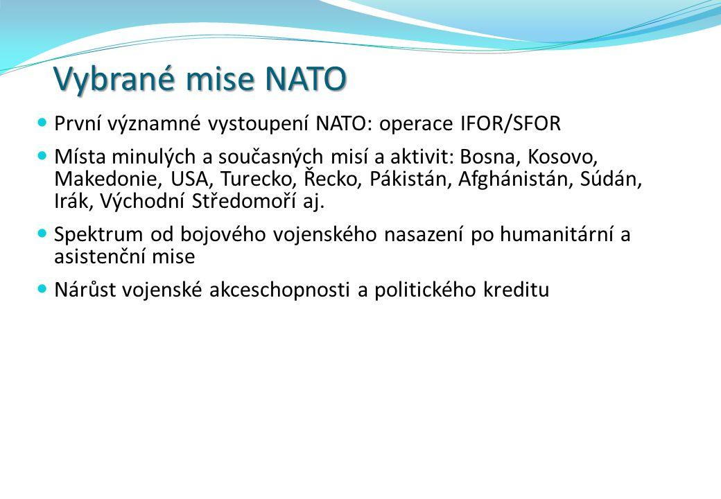 Vybrané mise NATO První významné vystoupení NATO: operace IFOR/SFOR Místa minulých a současných misí a aktivit: Bosna, Kosovo, Makedonie, USA, Turecko, Řecko, Pákistán, Afghánistán, Súdán, Irák, Východní Středomoří aj.