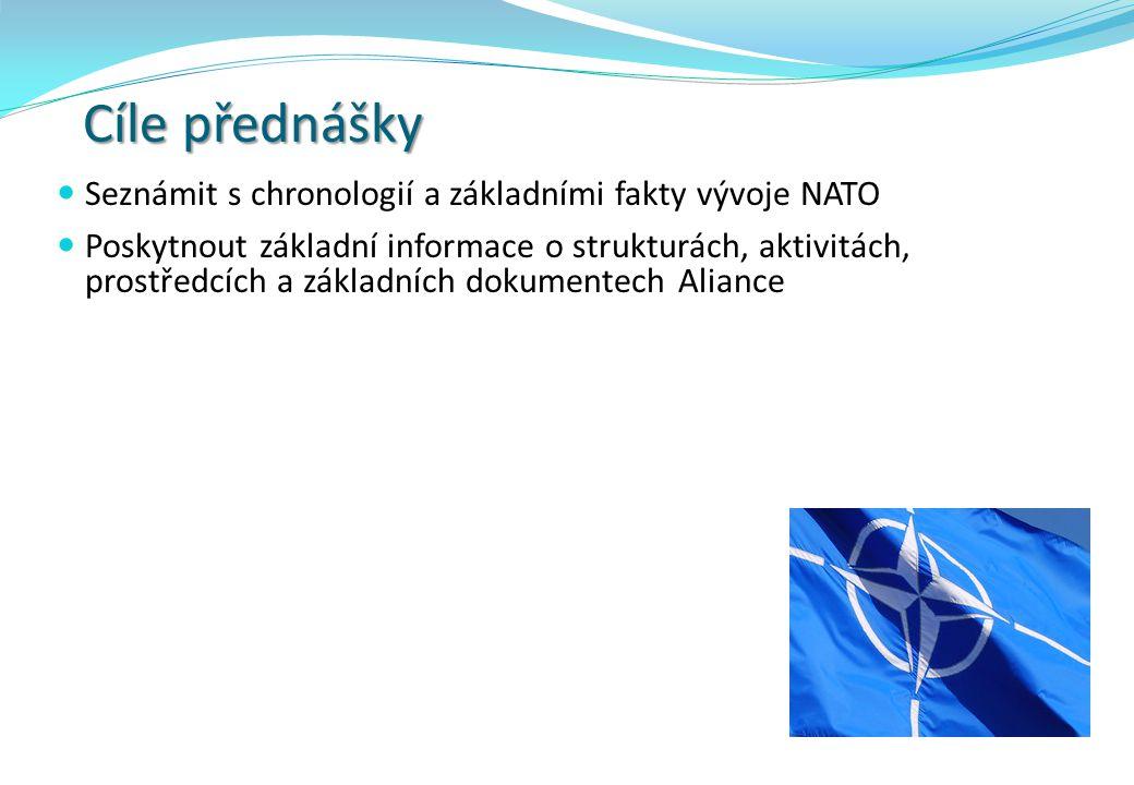 Obsah přednášky Úvod: Počátky Aliance a její základní cíl Článek 5 Washingtonské smlouvy Rozšiřování členské základny NATO Historický vývoj NATO Vybrané mise NATO Aktivace čl.