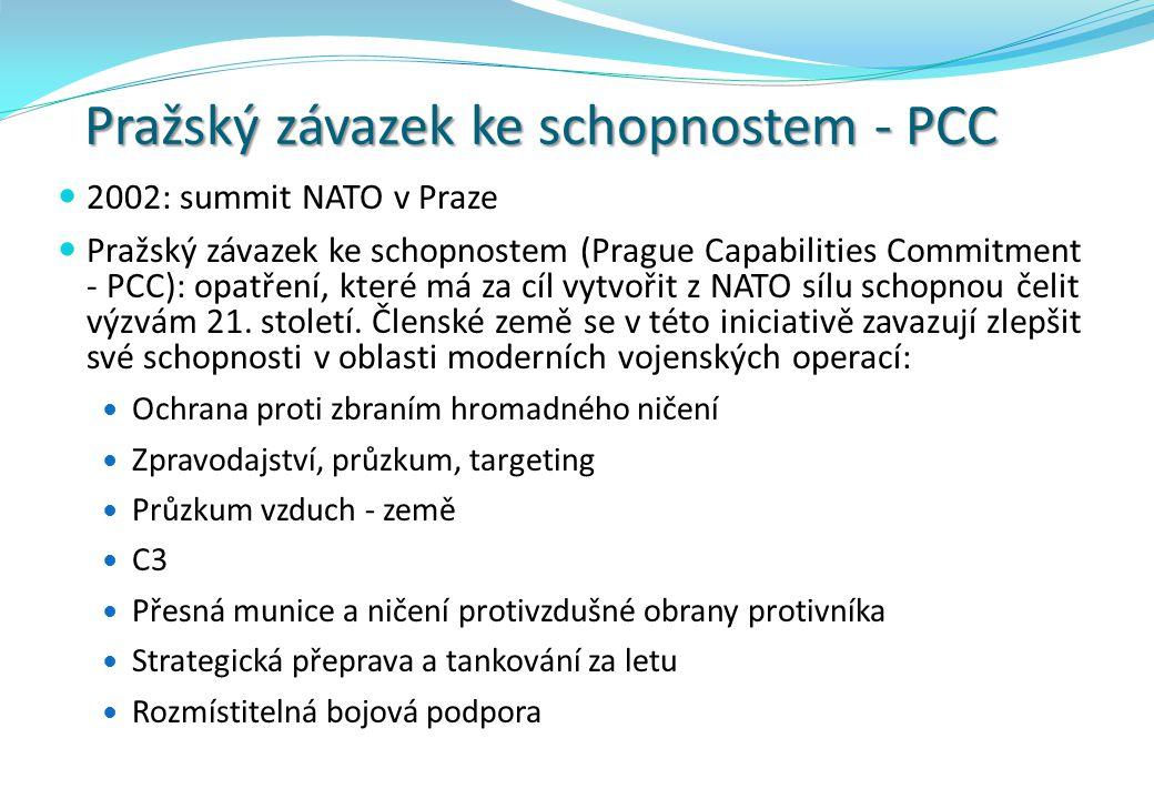 Pražský závazek ke schopnostem - PCC 2002: summit NATO v Praze Pražský závazek ke schopnostem (Prague Capabilities Commitment - PCC): opatření, které má za cíl vytvořit z NATO sílu schopnou čelit výzvám 21.