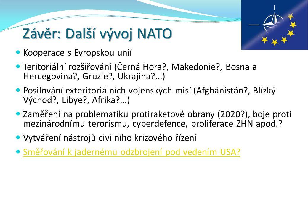 Závěr: Další vývoj NATO Kooperace s Evropskou unií Teritoriální rozšiřování (Černá Hora?, Makedonie?, Bosna a Hercegovina?, Gruzie?, Ukrajina?...) Posilování exteritoriálních vojenských misí (Afghánistán?, Blízký Východ?, Libye?, Afrika?...) Zaměření na problematiku protiraketové obrany (2020?), boje proti mezinárodnímu terorismu, cyberdefence, proliferace ZHN apod..