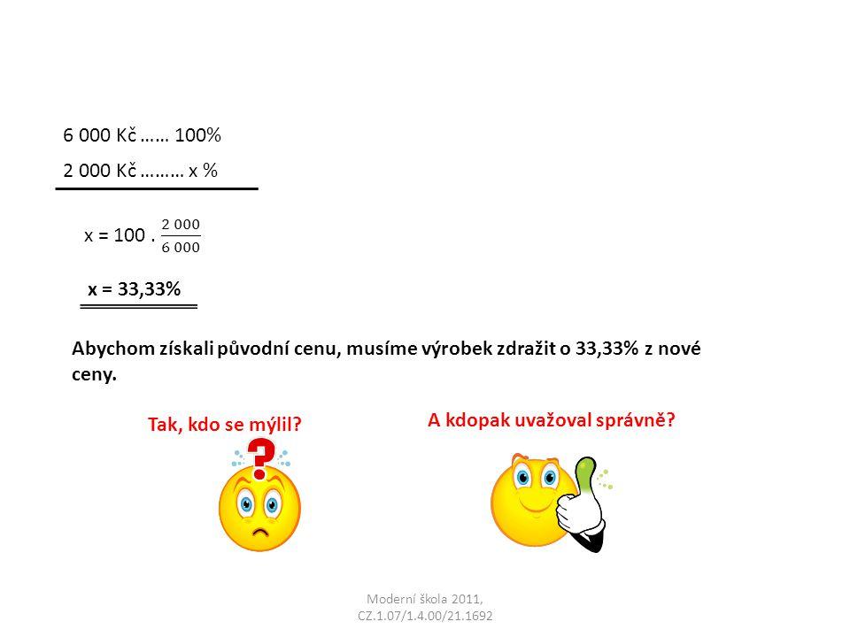 Moderní škola 2011, CZ.1.07/1.4.00/21.1692 6 000 Kč …… 100% 2 000 Kč ……… x % x = 33,33% Abychom získali původní cenu, musíme výrobek zdražit o 33,33% z nové ceny.