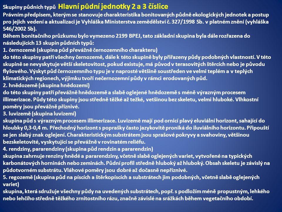 Skupiny půdních typů Hlavní půdní jednotky 2 a 3 číslice Právním předpisem, kterým se stanovuje charakteristika bonitovaných půdně ekologických jednotek a postup pro jejich vedení a aktualizaci je Vyhláška Ministerstva zemědělství č.