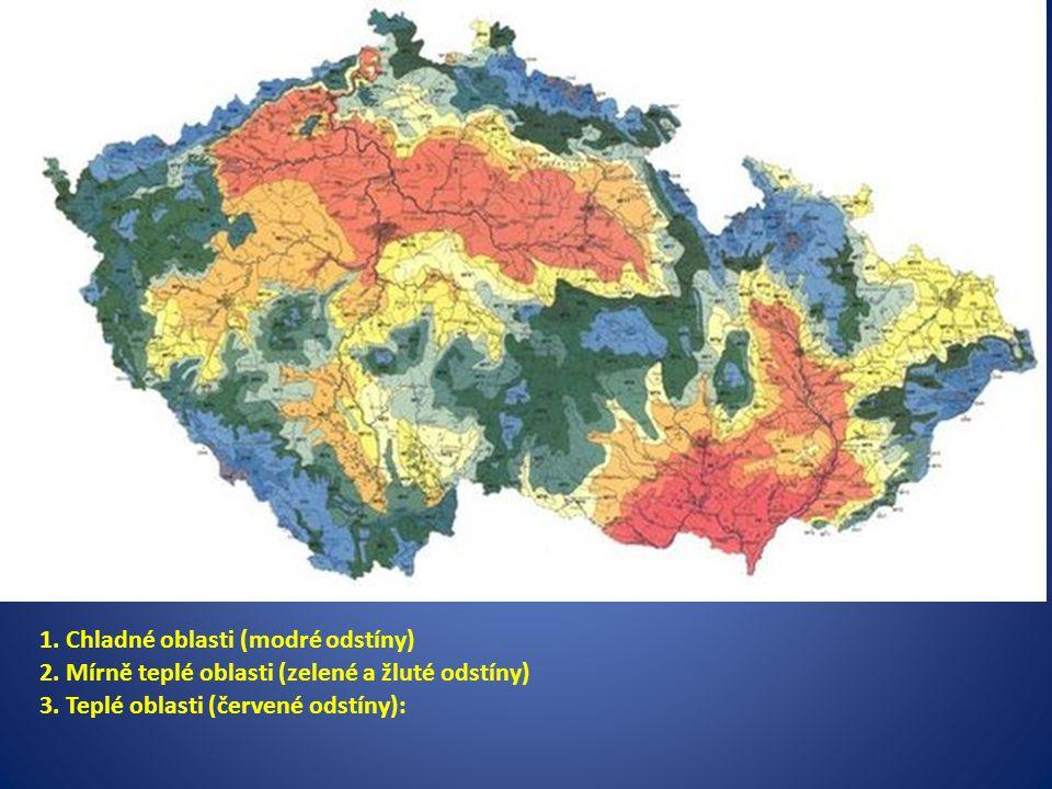 1.Chladné oblasti (modré odstíny) 2. Mírně teplé oblasti (zelené a žluté odstíny) 3.