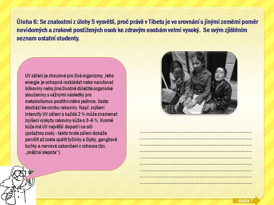 Úloha 6: Se znalostmi z úlohy 5 vysvětli, proč právě v Tibetu je ve srovnání s jinými zeměmi poměr nevidomých a zrakově postižených osob ke zdravým os