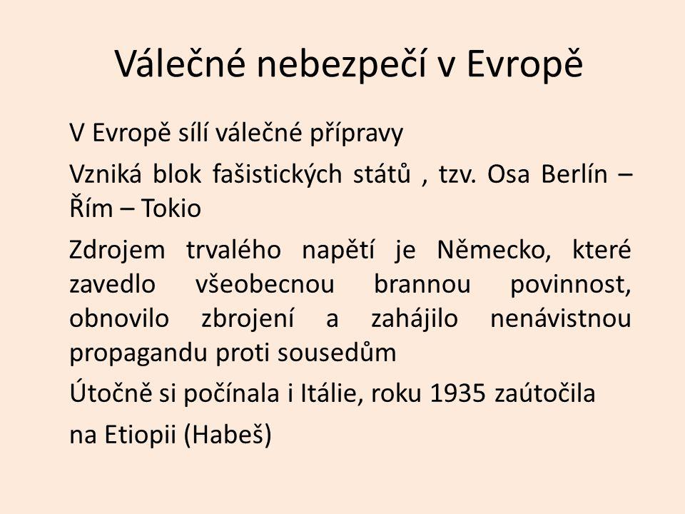 Válečné nebezpečí v Evropě V Evropě sílí válečné přípravy Vzniká blok fašistických států, tzv. Osa Berlín – Řím – Tokio Zdrojem trvalého napětí je Něm