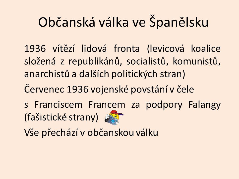 Občanská válka získala rychle mezinárodní charakter Falangu podporují Itálie a Německo, republikánskou armádu podporoval Sovětský svaz a stoupenci levice, tzv.