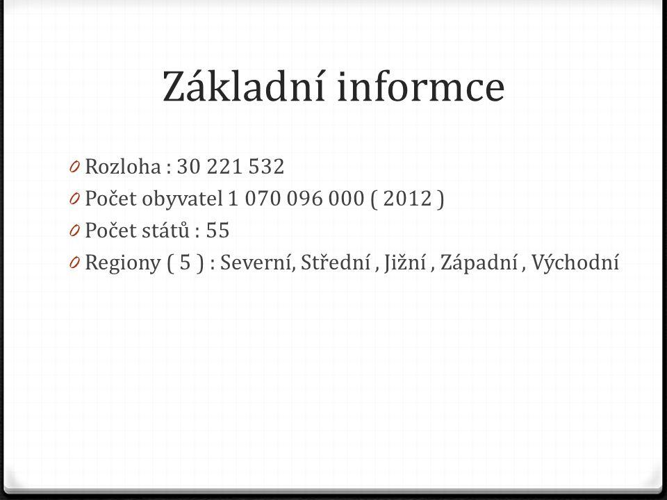 Základní informce 0 Rozloha : 30 221 532 0 Počet obyvatel 1 070 096 000 ( 2012 ) 0 Počet států : 55 0 Regiony ( 5 ) : Severní, Střední, Jižní, Západní
