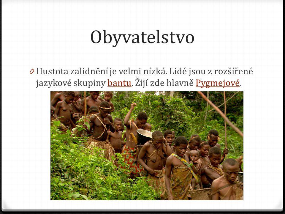 Obyvatelstvo 0 Hustota zalidnění je velmi nízká. Lidé jsou z rozšířené jazykové skupiny bantu. Žijí zde hlavně Pygmejové.bantuPygmejové