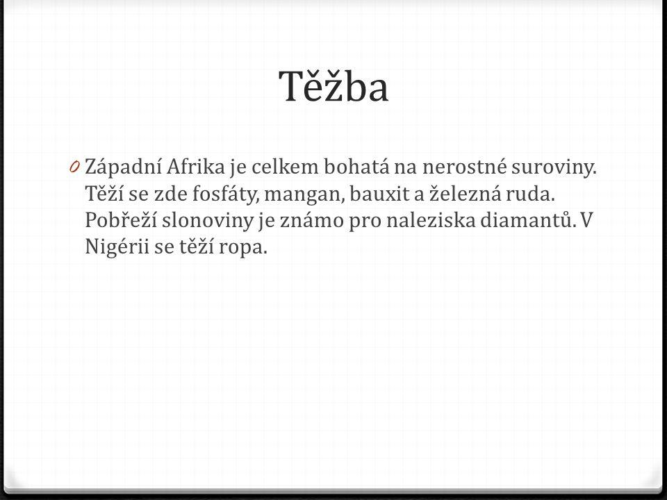 Těžba 0 Západní Afrika je celkem bohatá na nerostné suroviny. Těží se zde fosfáty, mangan, bauxit a železná ruda. Pobřeží slonoviny je známo pro nalez