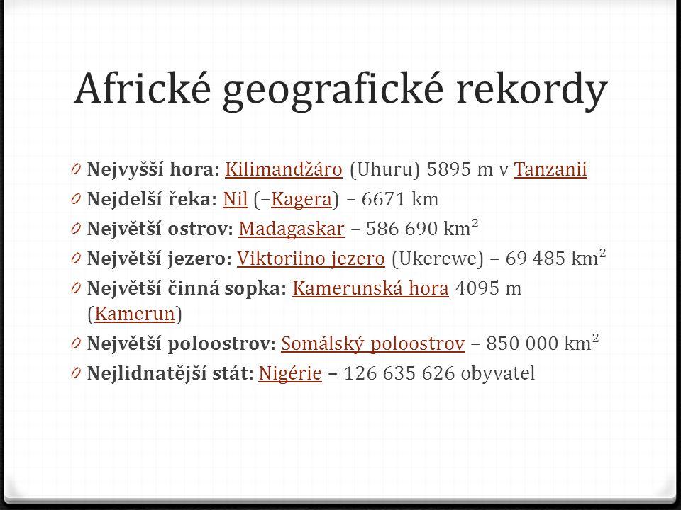 Africké geografické rekordy 0 Nejvyšší hora: Kilimandžáro (Uhuru) 5895 m v TanzaniiKilimandžároTanzanii 0 Nejdelší řeka: Nil (–Kagera) – 6671 kmNilKag