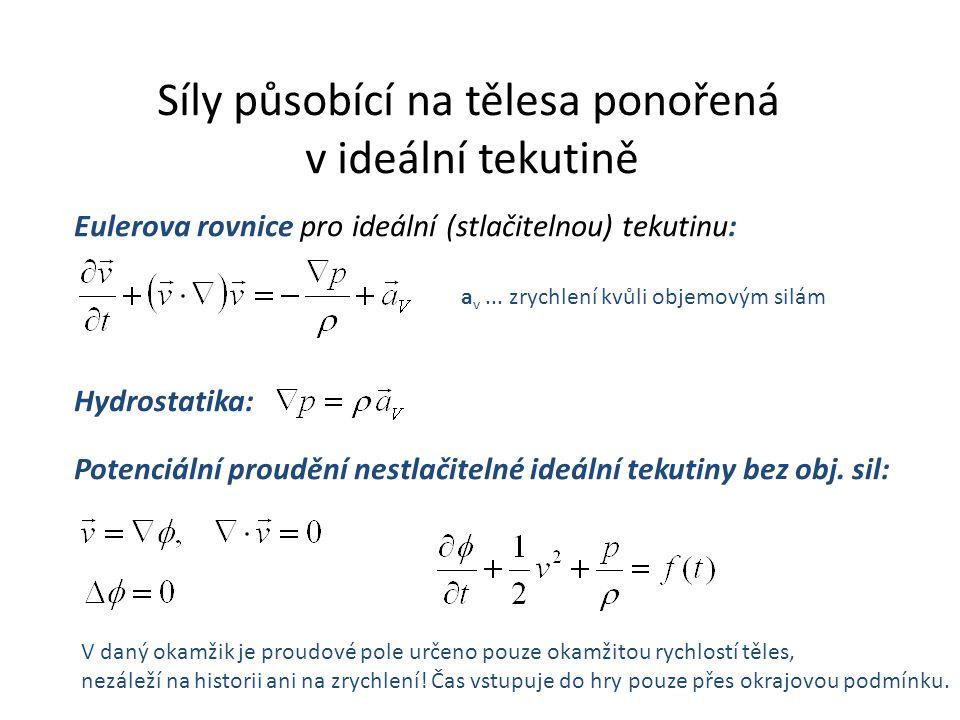 Síly působící na tělesa ponořená v ideální tekutině Eulerova rovnice pro ideální (stlačitelnou) tekutinu: a v...