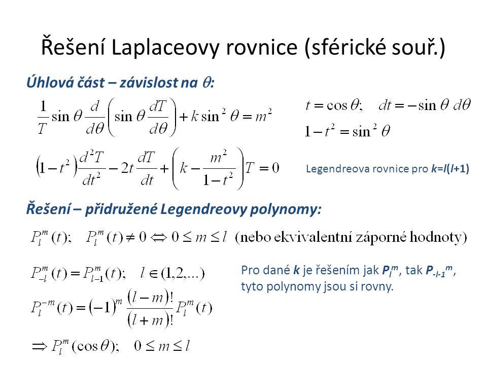 Řešení Laplaceovy rovnice (sférické souř.) n>0 nefyzikální.