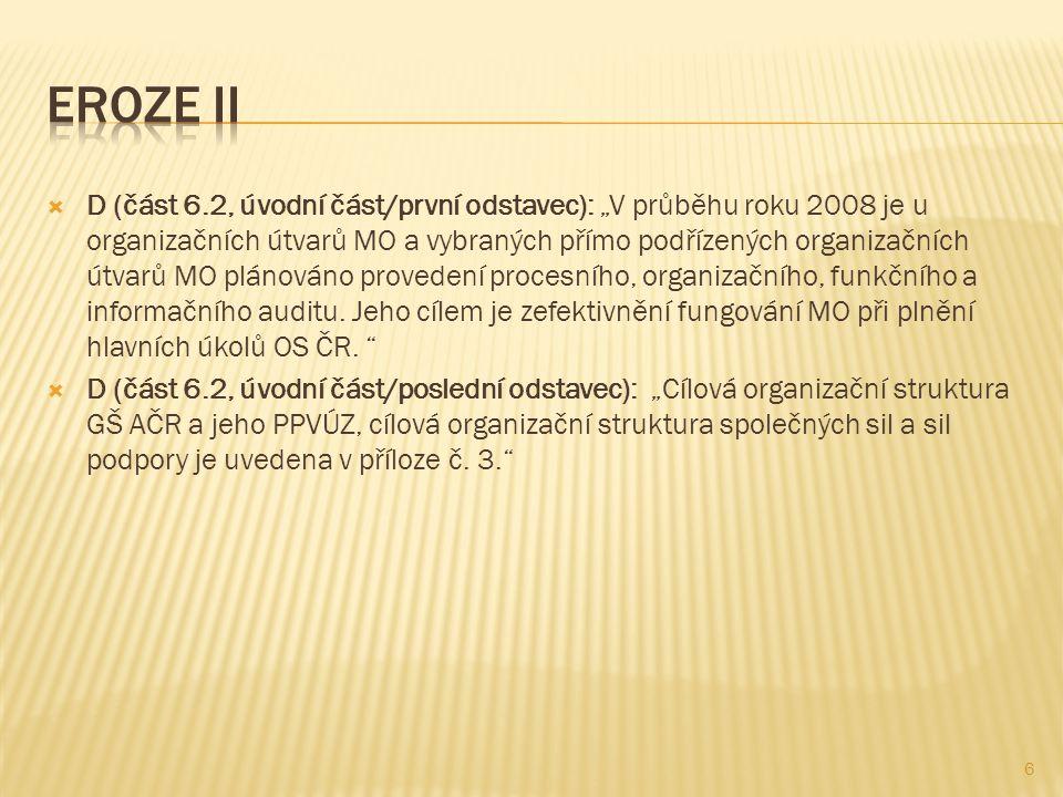 """ D (část 6.2, úvodní část/první odstavec): """"V průběhu roku 2008 je u organizačních útvarů MO a vybraných přímo podřízených organizačních útvarů MO pl"""