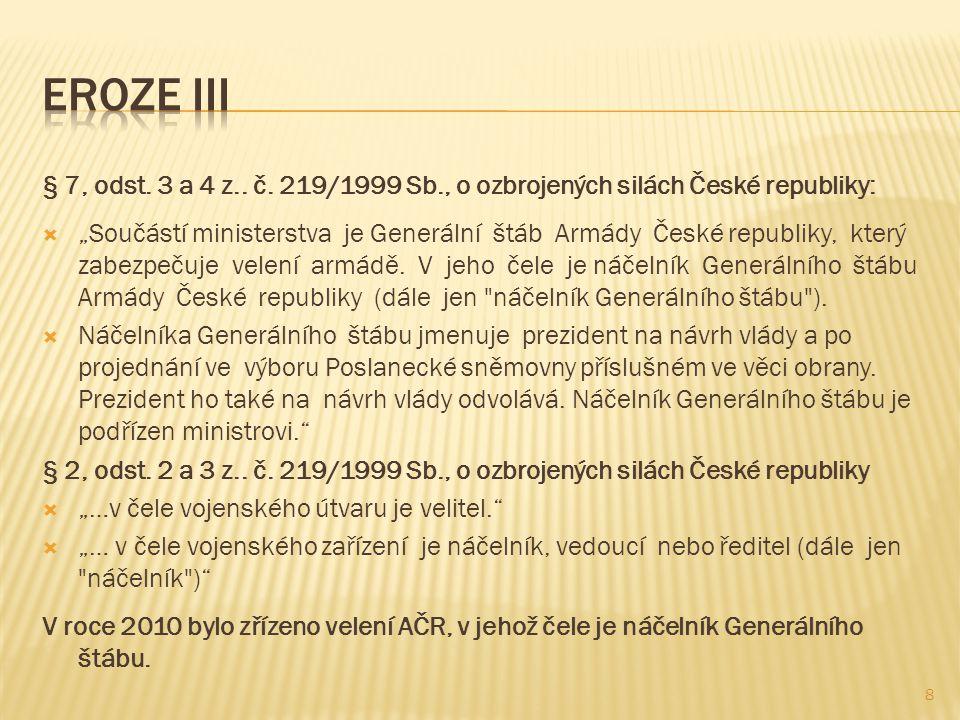 """§ 7, odst. 3 a 4 z.. č. 219/1999 Sb., o ozbrojených silách České republiky:  """"Součástí ministerstva je Generální štáb Armády České republiky, který z"""