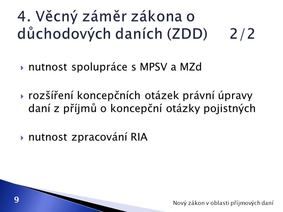  nutnost spolupráce s MPSV a MZd  rozšíření koncepčních otázek právní úpravy daní z příjmů o koncepční otázky pojistných  nutnost zpracování RIA Nový zákon v oblasti příjmových daní 9