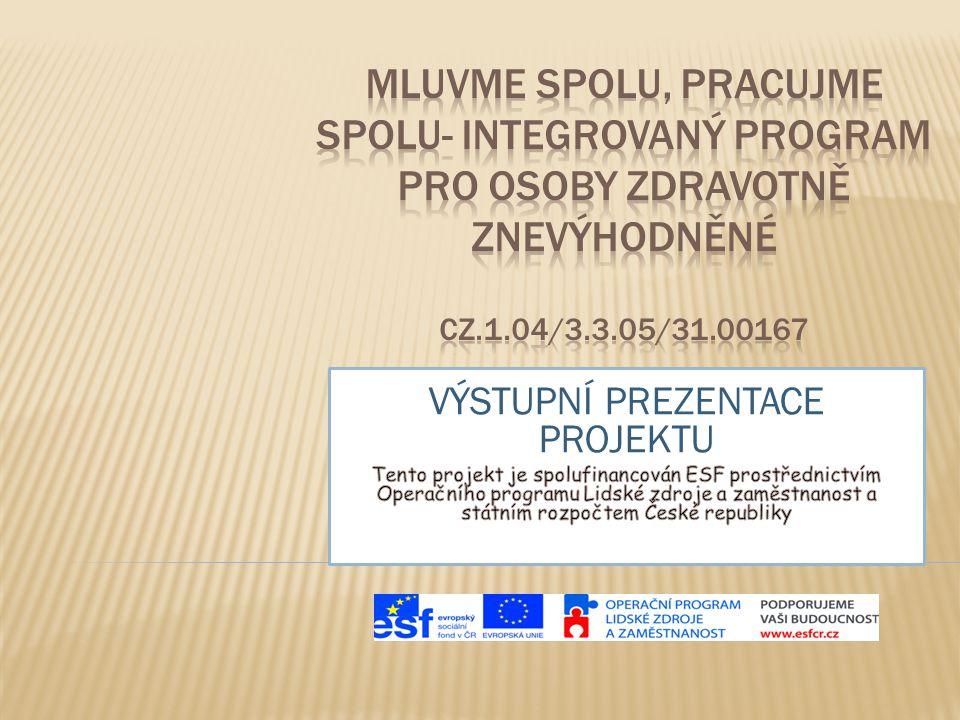  Projekt Mluvme spolu, pracujme spolu- integrovaný program pro osoby zdravotně znevýhodněné, CZ.1.04/3.3.05/31.00167, začal 1.5.2010 a byl ukončen 30.11.2011.