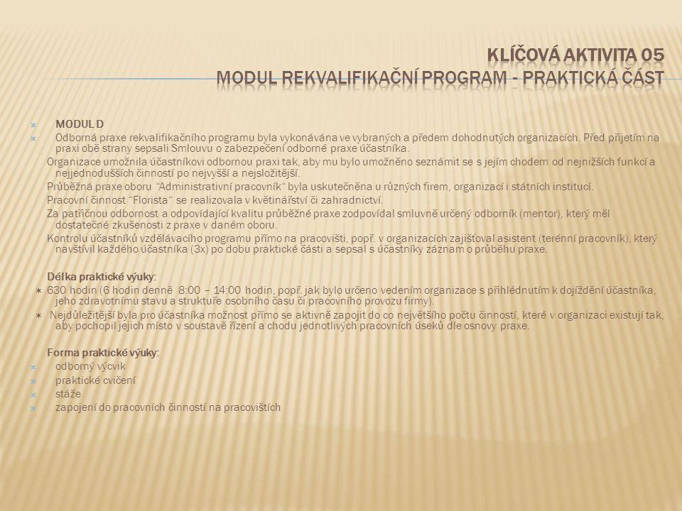  MODUL D  Odborná praxe rekvalifikačního programu byla vykonávána ve vybraných a předem dohodnutých organizacích. Před přijetím na praxi obě strany