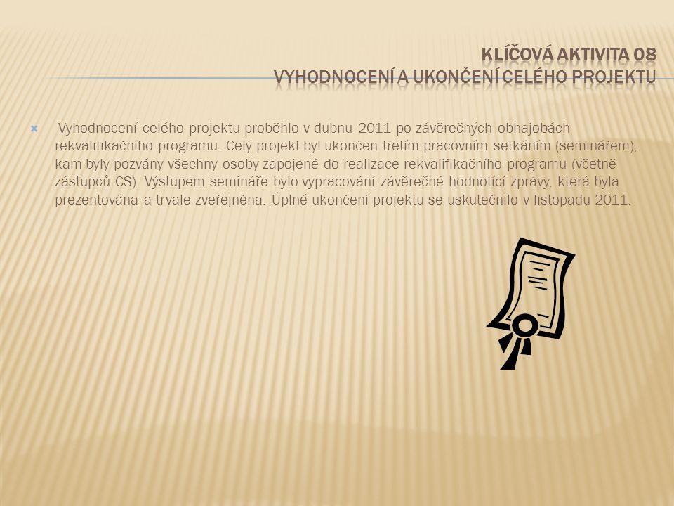  Vyhodnocení celého projektu proběhlo v dubnu 2011 po závěrečných obhajobách rekvalifikačního programu. Celý projekt byl ukončen třetím pracovním set