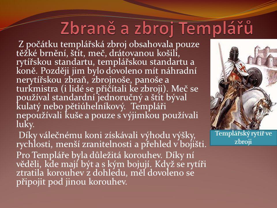 Z počátku templářská zbroj obsahovala pouze těžké brnění, štít, meč, drátovanou košili, rytířskou standartu, templářskou standartu a koně. Později jim