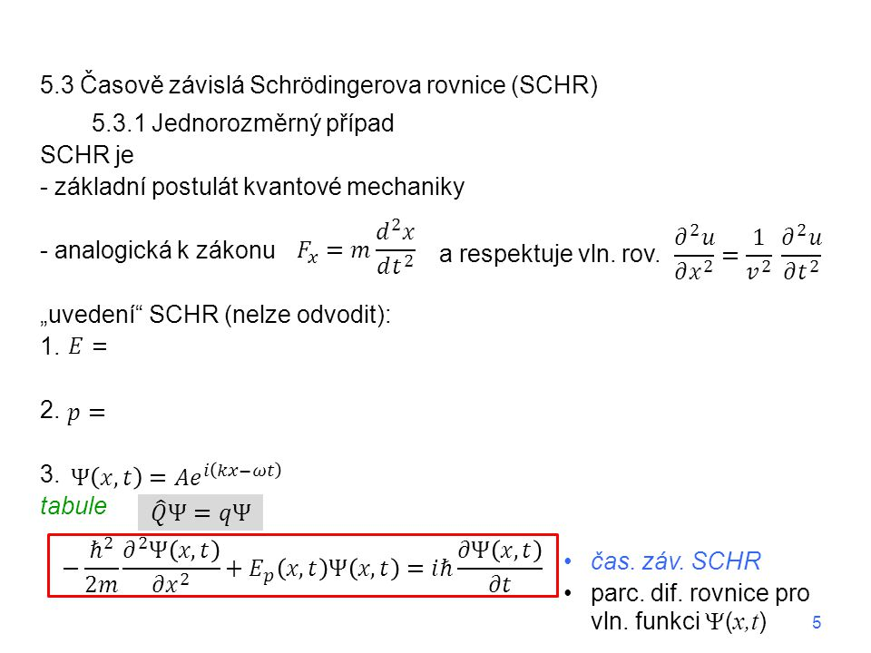 """5.3 Časově závislá Schrödingerova rovnice (SCHR) 5.3.1 Jednorozměrný případ SCHR je - základní postulát kvantové mechaniky - analogická k zákonu """"uvedení SCHR (nelze odvodit): 1."""