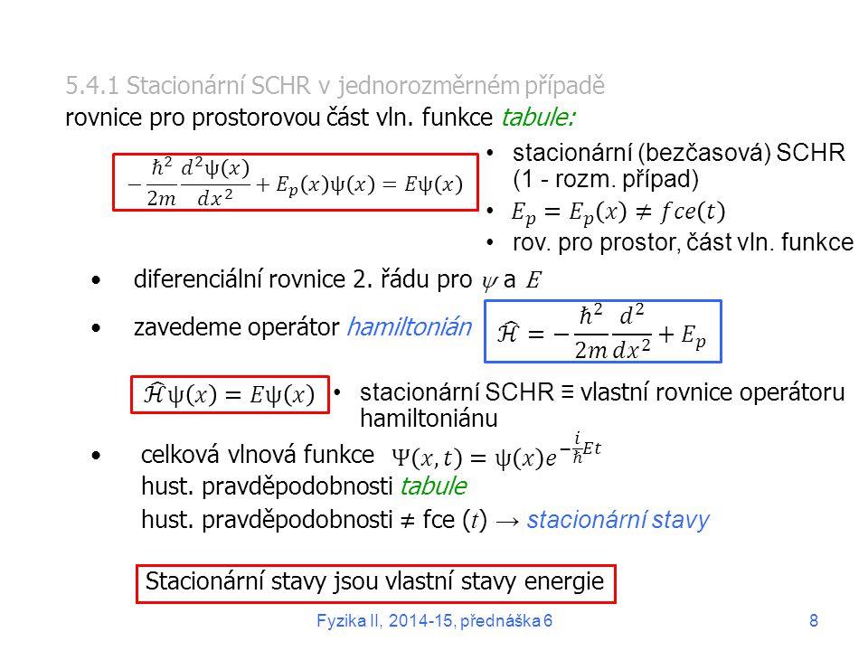 5.4.1 Stacionární SCHR v jednorozměrném případě rovnice pro prostorovou část vln. funkce tabule: diferenciální rovnice 2. řádu pro  a E zavedeme oper