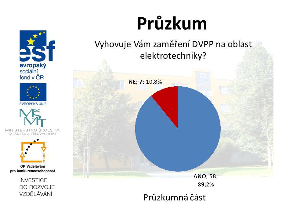 Průzkum Vyhovuje Vám zaměření DVPP na oblast elektrotechniky? Průzkumná část