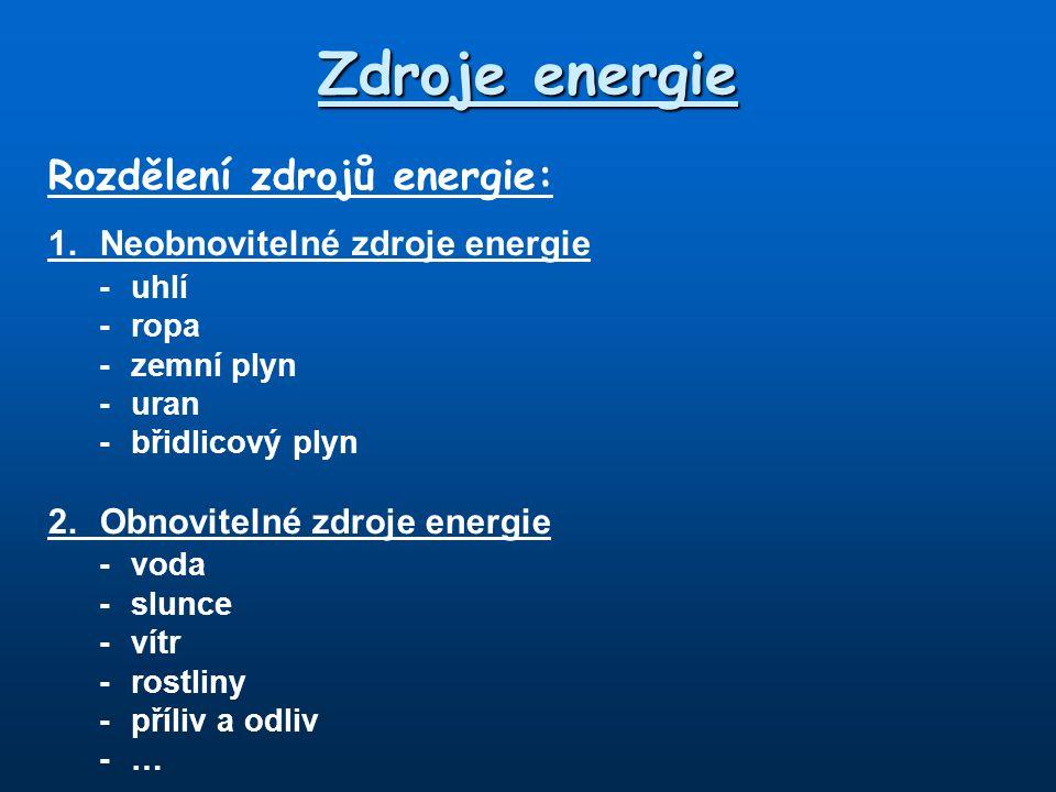 Zdroje energie Rozdělení zdrojů energie: 1.Neobnovitelné zdroje energie -uhlí - ropa -zemní plyn -uran -břidlicový plyn 2.Obnovitelné zdroje energie -