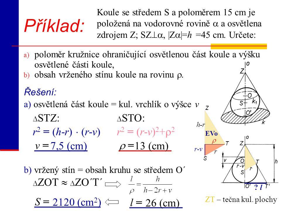 S T Z EVo r-v r 2 = (h-r)  (r-v) Příklad: Koule se středem S a poloměrem 15 cm je položená na vodorovné rovině  a osvětlena zdrojem Z; SZ , |Z  |