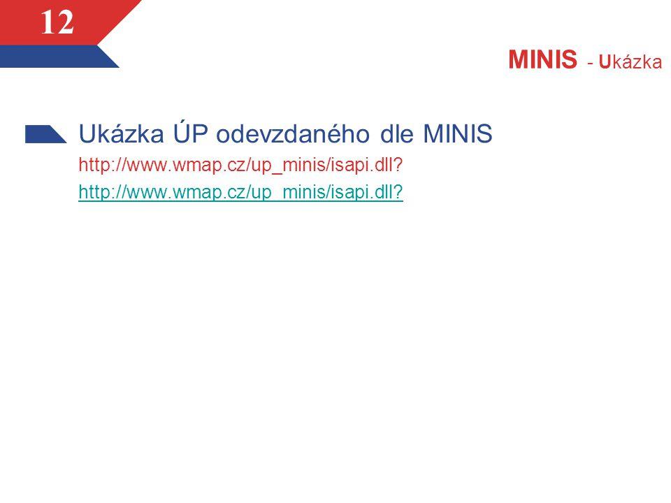 12 MINIS - Ukázka Ukázka ÚP odevzdaného dle MINIS http://www.wmap.cz/up_minis/isapi.dll