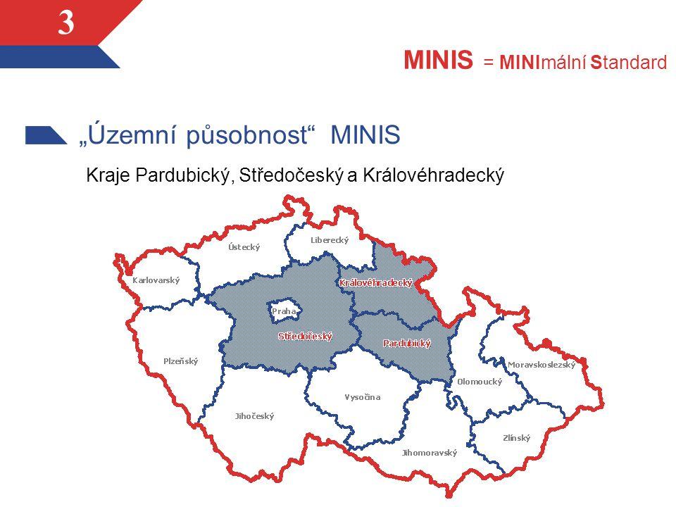 """3 """"Územní působnost MINIS Kraje Pardubický, Středočeský a Královéhradecký MINIS = MINImální Standard"""