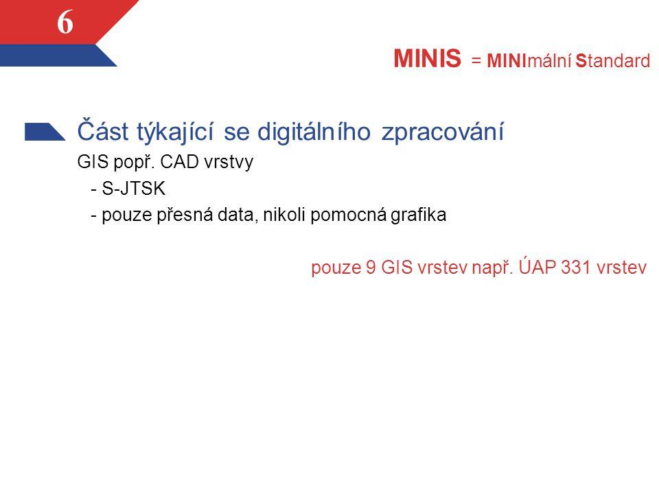 6 MINIS = MINImální Standard Část týkající se digitálního zpracování GIS popř.
