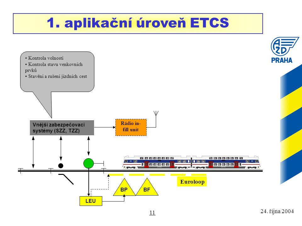 24. října 2004 11 BF Vnější zabezpečovací systémy (SZZ, TZZ) LEU BP Rádio in- fill unit 1. aplikační úroveň ETCS Kontrola volnosti Kontrola stavu venk