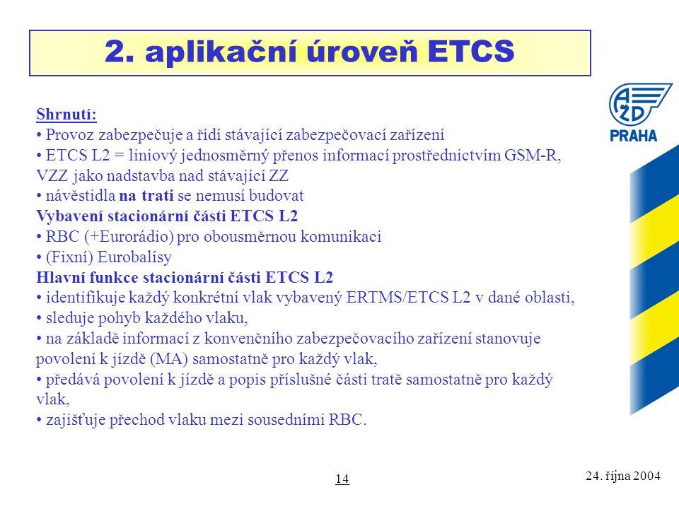 24. října 2004 14 Shrnutí: Provoz zabezpečuje a řídí stávající zabezpečovací zařízení ETCS L2 = liniový jednosměrný přenos informací prostřednictvím G