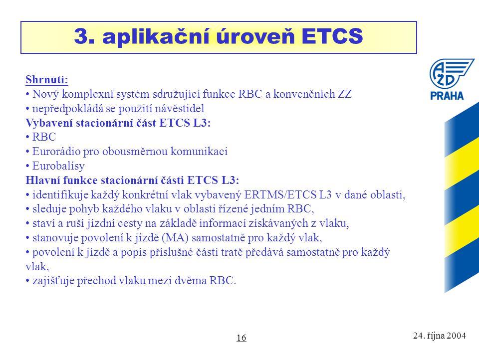 24. října 2004 16 Shrnutí: Nový komplexní systém sdružující funkce RBC a konvenčních ZZ nepředpokládá se použití návěstidel Vybavení stacionární část