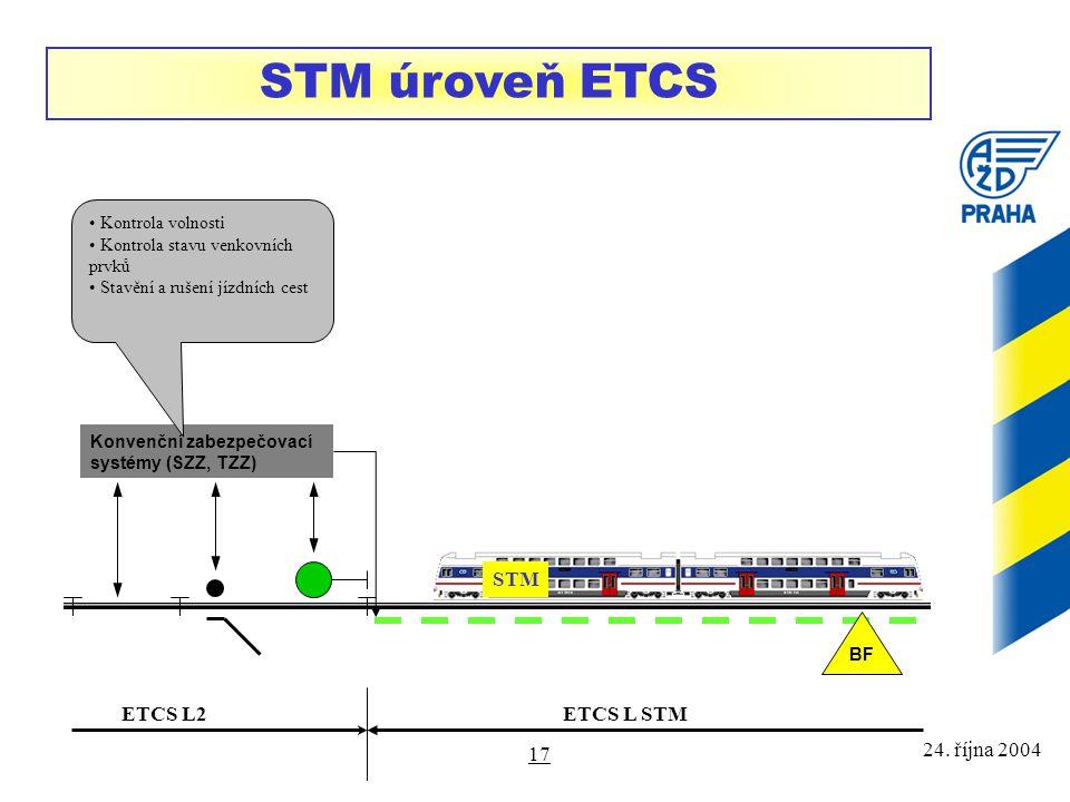 24. října 2004 17 STM úroveň ETCS Konvenční zabezpečovací systémy (SZZ, TZZ) Kontrola volnosti Kontrola stavu venkovních prvků Stavění a rušení jízdní