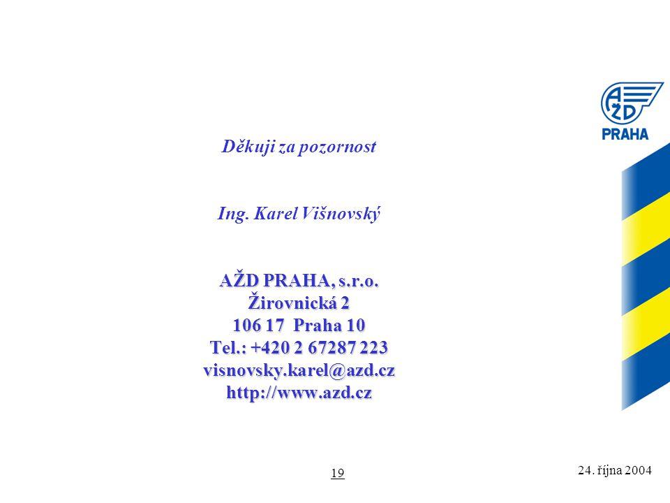 24. října 2004 19 AŽD PRAHA, s.r.o. Žirovnická 2 106 17 Praha 10 Tel.: +420 2 67287 223 visnovsky.karel@azd.cz http://www.azd.cz Děkuji za pozornost I