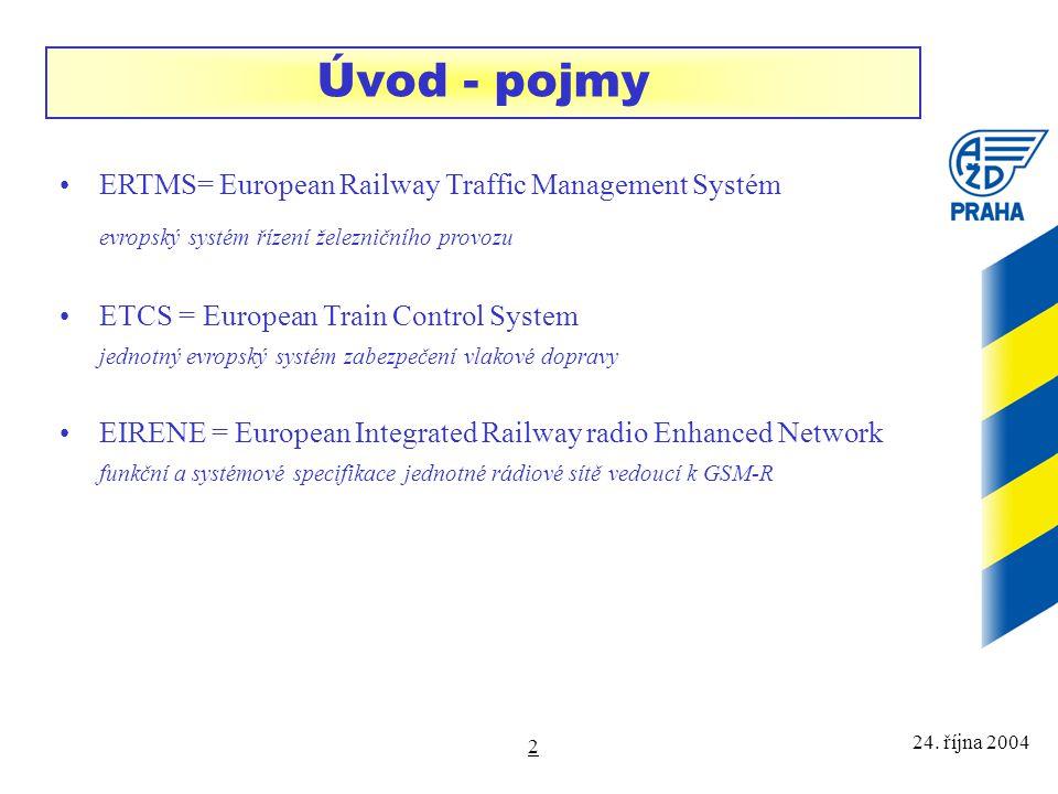 24. října 2004 2 Úvod - pojmy ERTMS= European Railway Traffic Management Systém evropský systém řízení železničního provozu ETCS = European Train Cont