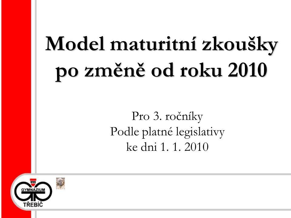 Model maturitní zkoušky po změně od roku 2010 Pro 3.