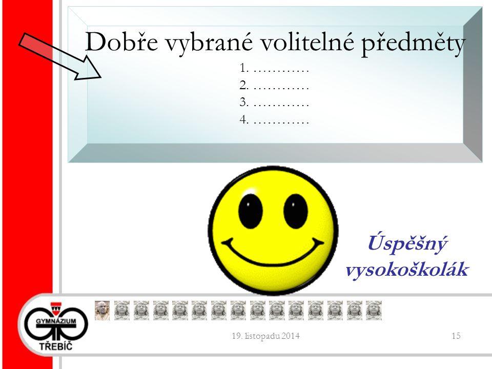 19. listopadu 201415 Dobře vybrané volitelné předměty 1.