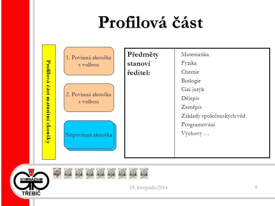 19. listopadu 20149 Profilová část 2. Povinná zkouška s volbou 1.