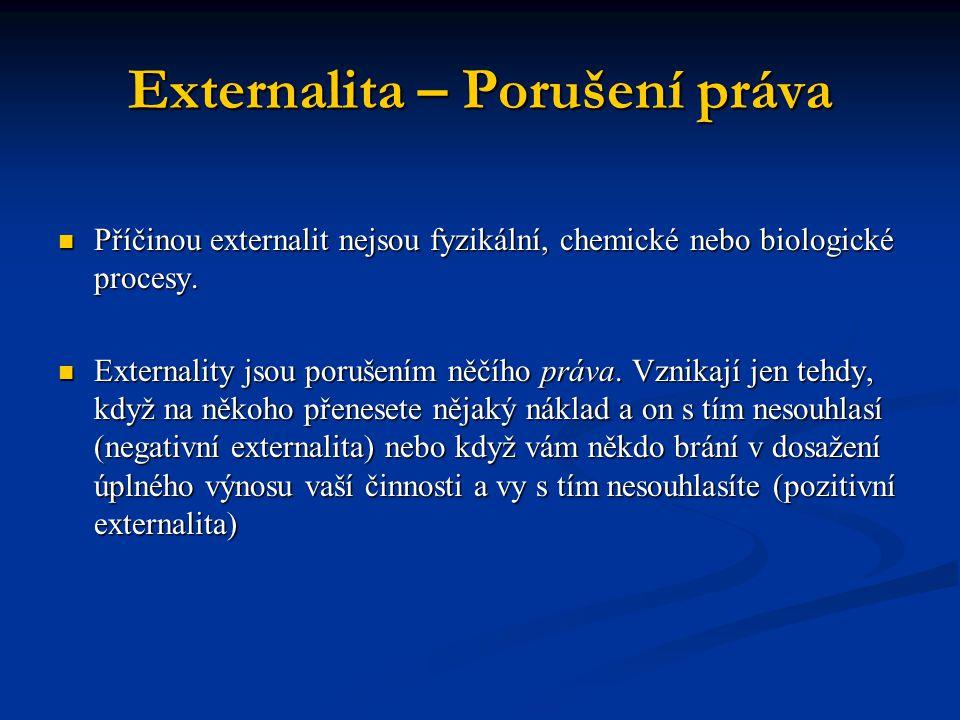 Externality a efektivnost Negativní externalita Negativní externalita vyvolává nesoulad mezi soukromými náklady a společnými náklady.