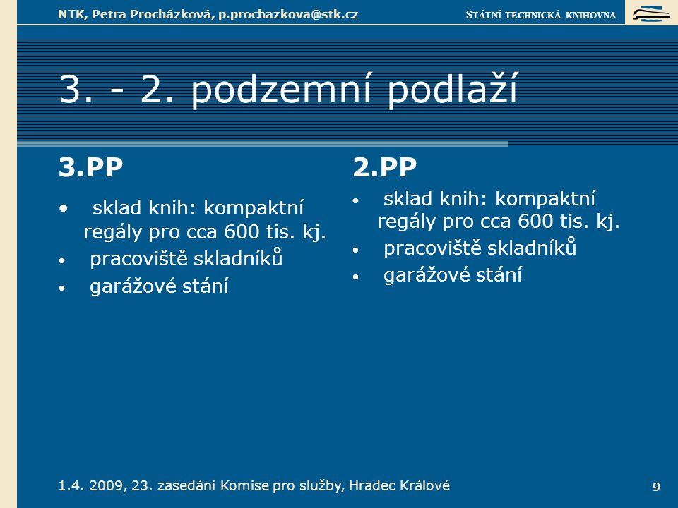S TÁTNÍ TECHNICKÁ KNIHOVNA 1.4. 2009, 23. zasedání Komise pro služby, Hradec Králové NTK, Petra Procházková, p.prochazkova@stk.cz 9 3. - 2. podzemní p