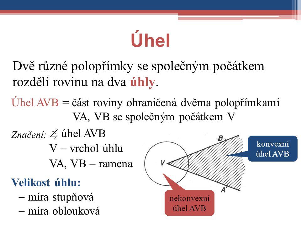Úhel Dvě různé polopřímky se společným počátkem rozdělí rovinu na dva úhly. Značení: V  vrchol úhlu VA, VB  ramena Úhel AVB = část roviny ohraničená